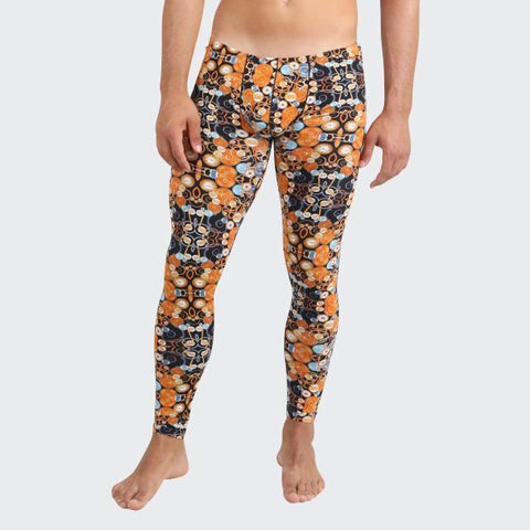 Circles long johns leggings for men by Ochox, Orange black warm you in the winter