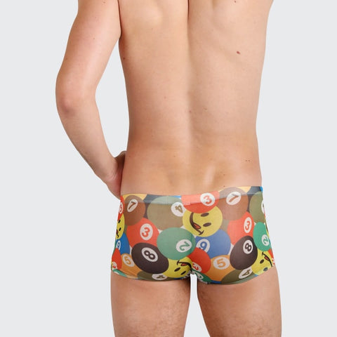 Fun Balls trunks for men by Ochox, sexy see-through trunks in pool balls pattern