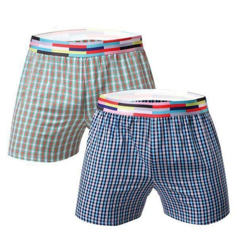 Pure comfort boxers for men by Ochox, Plaid ,2-pack, green and blue