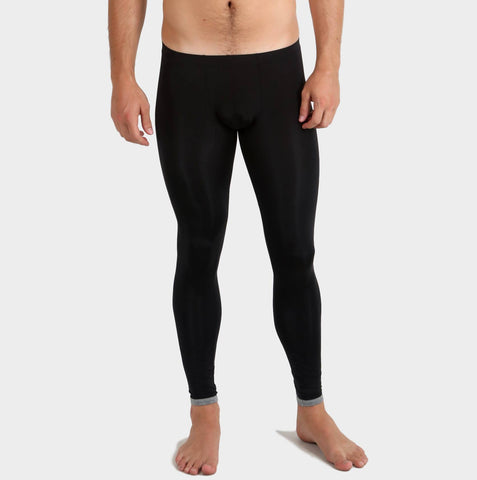 Snug Long Johns for men by Ochox, black color with transparency look, snug fit