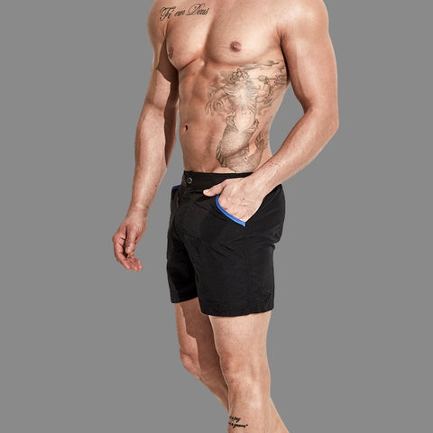 8d43d4410d Summer Daze black men's swim shorts with zipping fly and snap button by  Ochox