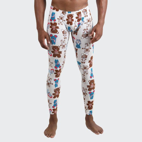 Teddy Bear long johns for men by Ochox, form fitting leggings with teddy prints
