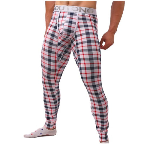WARM PLAID LONG JOHNS FOR MEN
