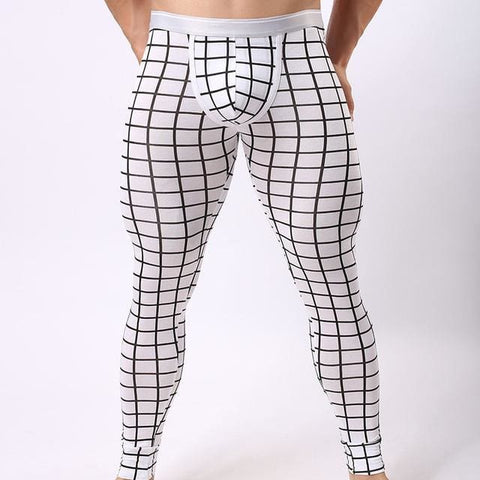 Black & White Long johns for men in plaid design stretchy and comfortable by Ochox