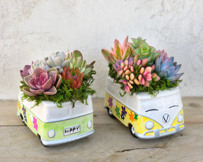 VW bus planter, flower power hippy bus, hippy van, ceramic hippy van, succulent planter, home decor, table decor, housewarming gift, get will gift, succulent garden, succulentartworks.com, succulent artworks, birthday gift, get well gift,