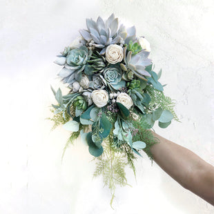 Trailing Wedding Bouquet in shades of blue and white