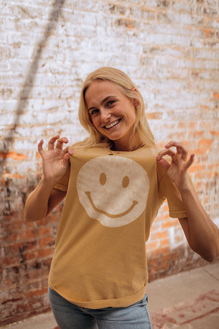 All Smiles Yellow Graphic Tee Size S-L $34