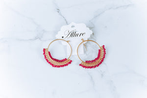 Making Statements Pink Beaded Earrings