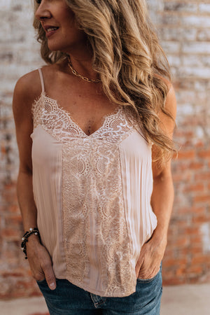 Waiting On Forever Beige Lace Cami