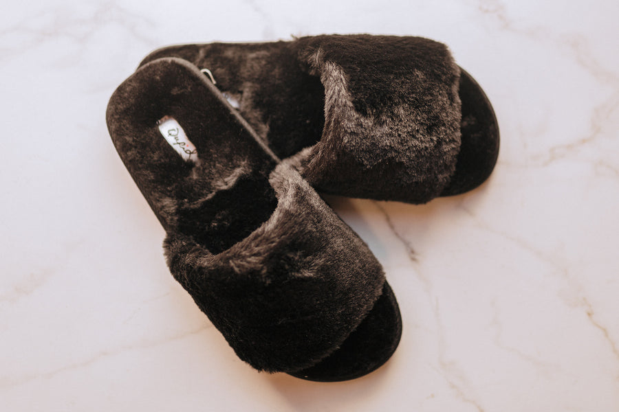 Warm Wishes Black Slippers
