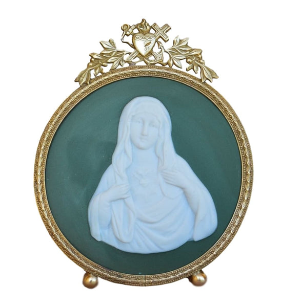 Religious 19Thc Antique Brass Reliquary Frame - Mary Sacred Heart Plaque - French Virgin Mary Oratory - Religious Gift Communion