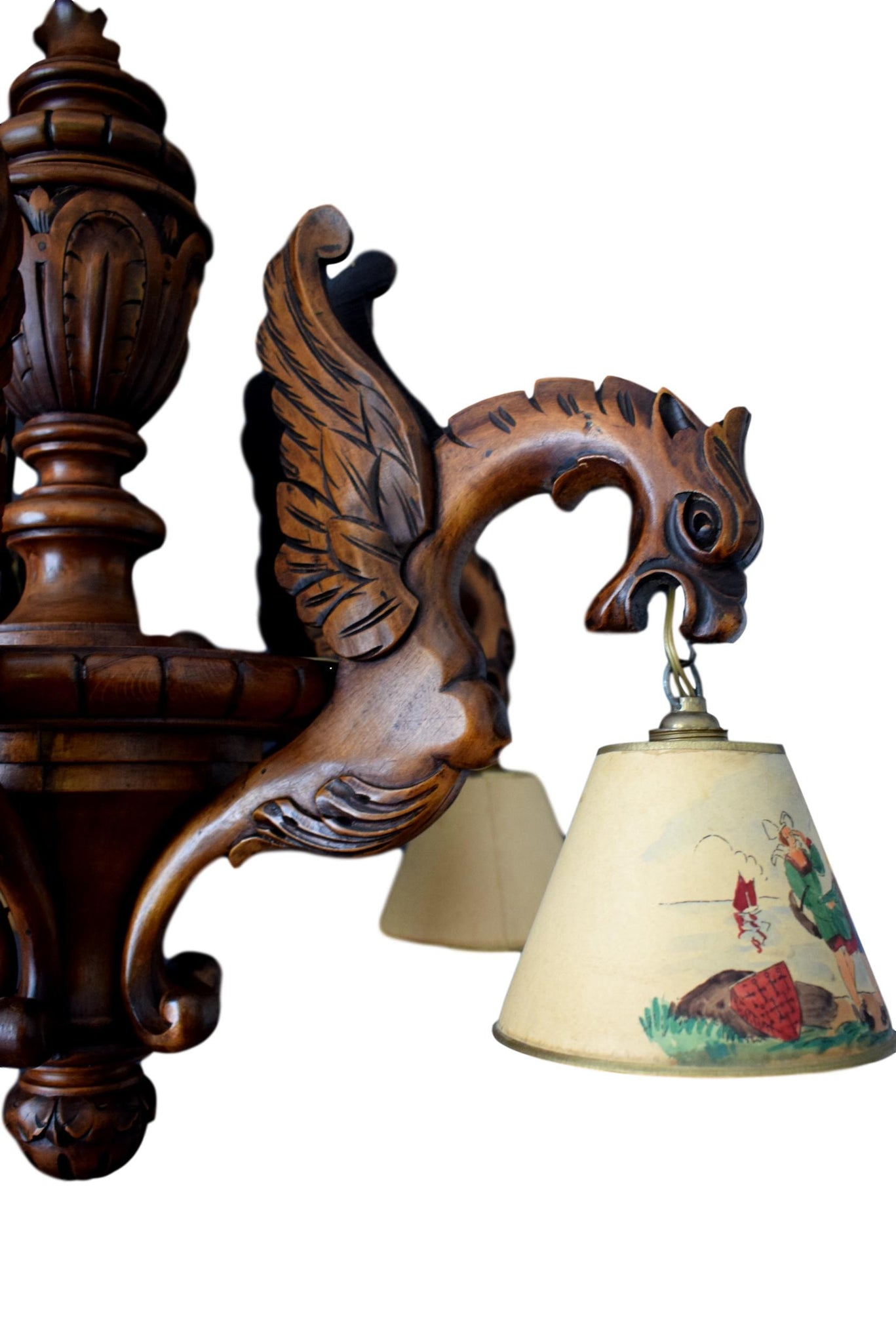 French Gothic Hand Carved Wood Large Chandelier - Victorian Ceiling Light - Griffin Dragon 5 Lights - Black Forest Antique Chandelier