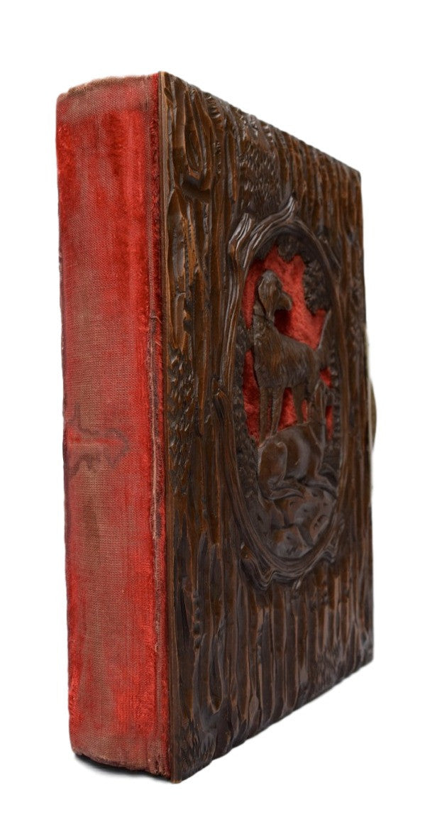 French Antique Black Forest Hand Carved Cover Photograph Album - Charmantiques