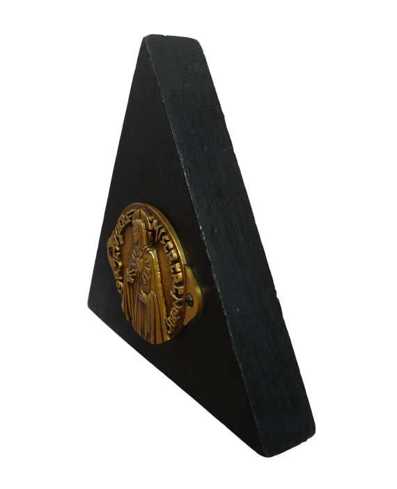 French Art Deco Religious Bronze PY Fernand Medal Wooden Triangle - Charmantiques
