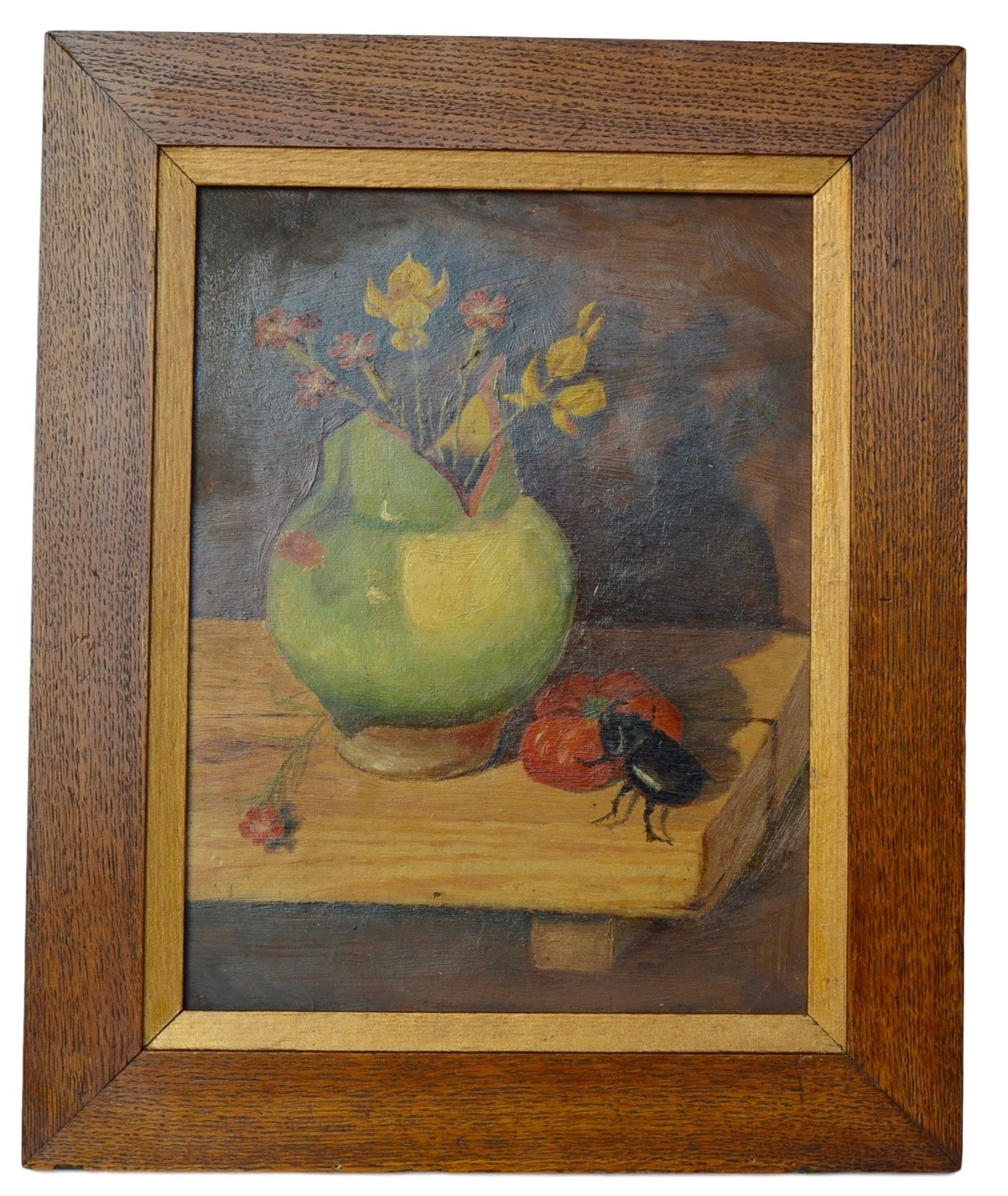 Still Life Beetle Painting - Charmantiques