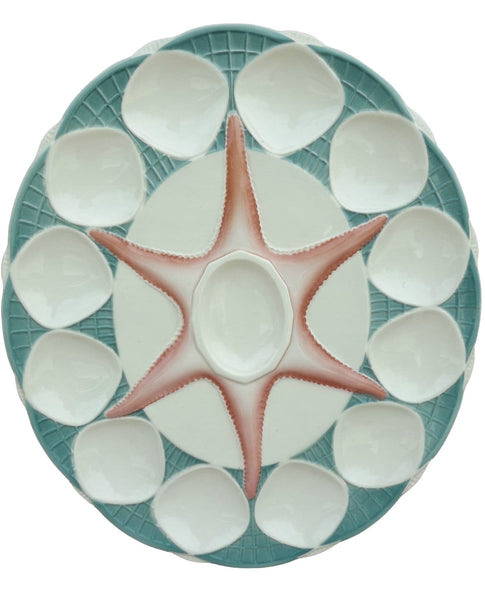 Georgous and Large Majolica Sarreguemines Oyster Platter Pink StarFish