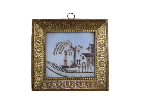 Mourning Hair Art Memento Frame - Charmantiques