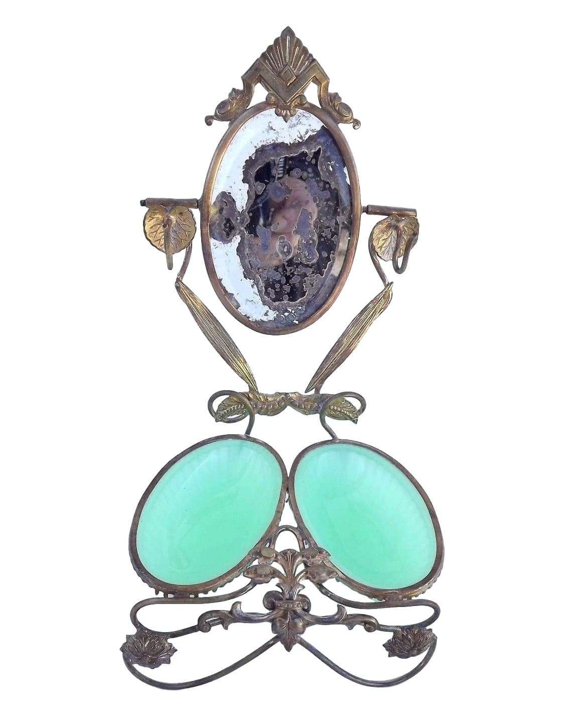Antique French Mirror Green Opaline Ring Holder - Ormolu Brass & Green Glass Casket Box - Egg Shape Mirror Jewelry
