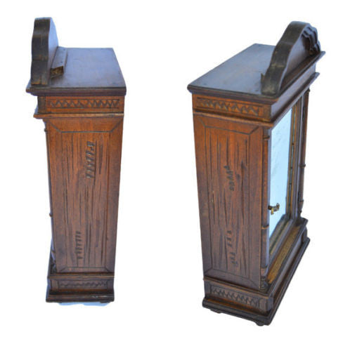 French Large Antique Handmade Wooden Doll Furniture Wardrobe Armoire Cabinet - Charmantiques