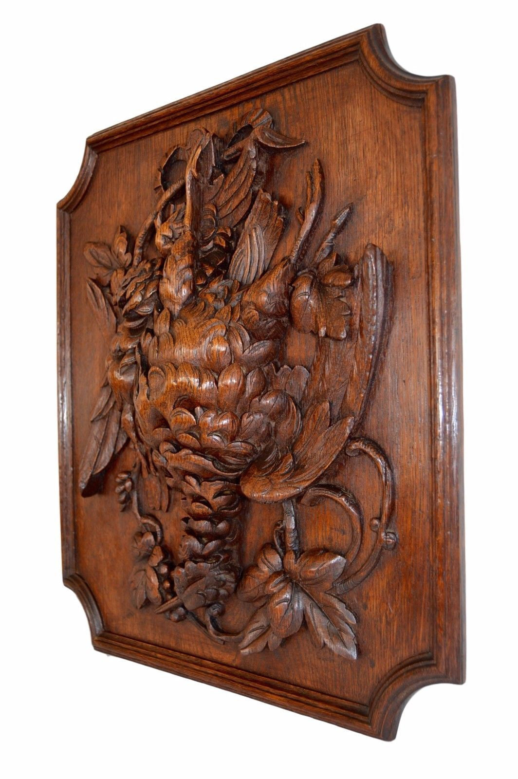Black Forest Hand Carved Wood Panel Frame - Hunt Themes Trophy Bird Wall Plaque - Charmantiques