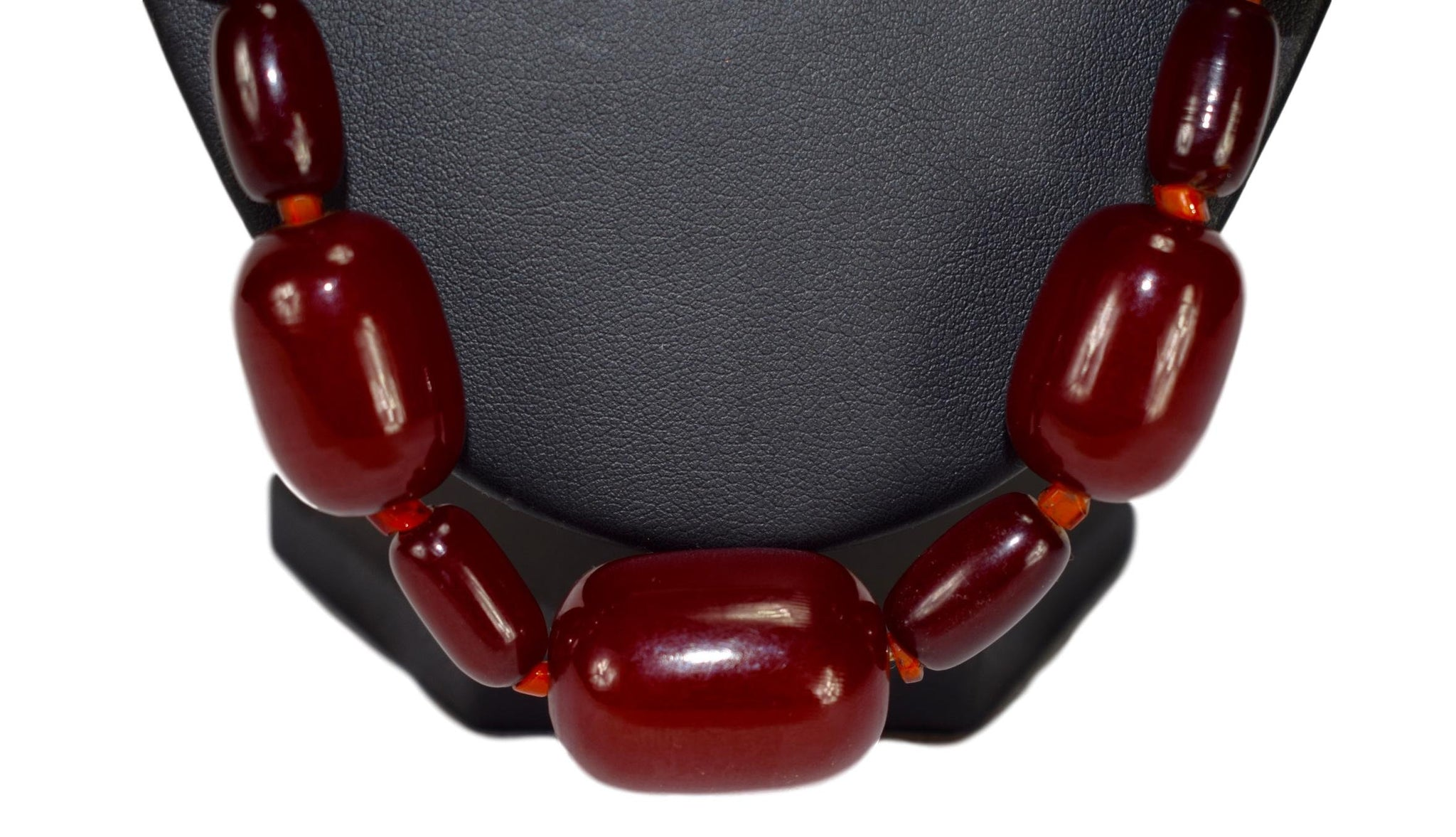 Red Cherry Amber Necklace 86g - Charmantiques