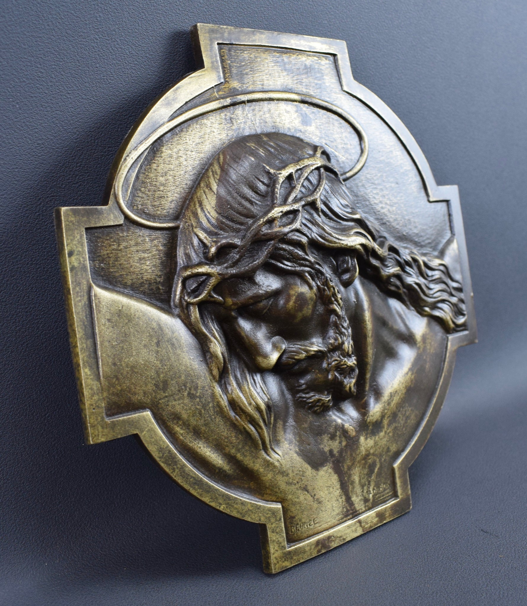 French Antique Bronze Wall Plaque of Holy Face of Jesus Christ