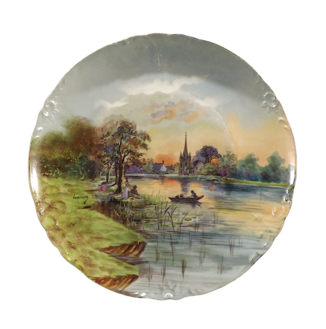 French Antique Large Limoges Porcelain Plate by J POUYAT 1890-1932 Signed Lecram Decorator - Impressionist Sunset Painting - Hand Painted