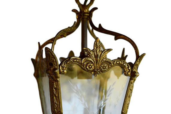 French Napoleon III Bronze & Cut Glass Entry Lantern - Charmantiques