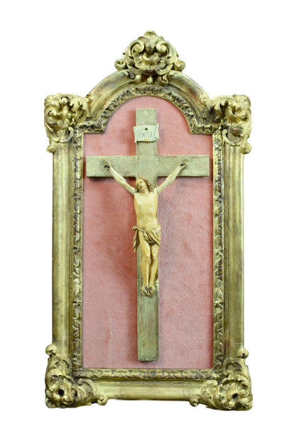 French Antique Religious Hand Carved Gilded Wood Frame - Hand Carved Wall Crucifix - 18th.C Antique Cross