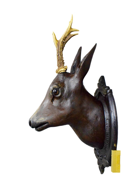 Antique French Black Forest Wall Carved Wood Roe Deer Hunt Trophy with Genuine Antlers and Glass Eyes