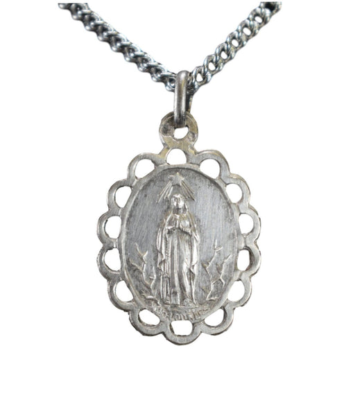 French Antique Sterling Silver Souvenir of Lourdes Openwork Pendant