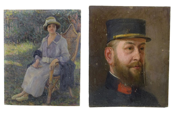 French Impressionist Style Double Sided Oil Painting Woman Soldier