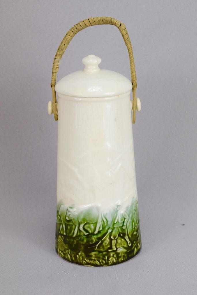 French Antique Majolica Milk Urn, Rustic Country Milk Jug, Cow Flock Faience Milk Pot, Green and White Milk Urn