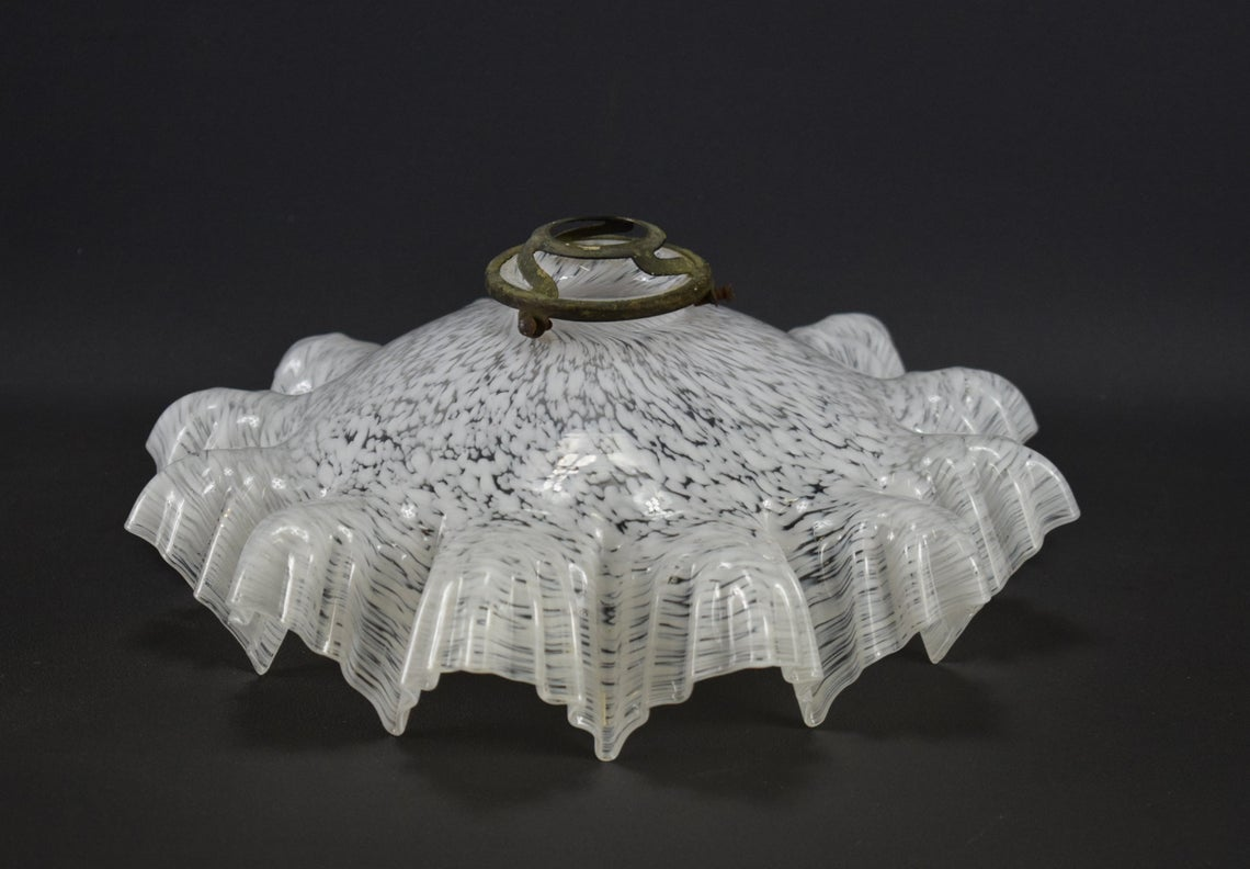Victorian Speckled White Glass Hanging Lamp - Charmantiques