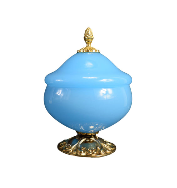 French Antique Blue Opaline - Lidded Opaline Candy Box - Gilded Brass Stand - French Design Interior