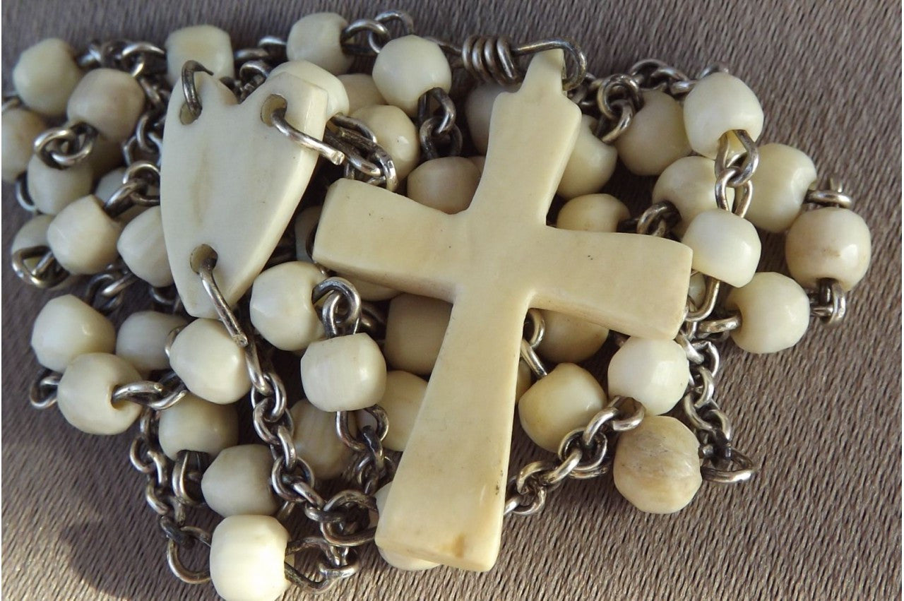 Ivory and Sterling Silver Rosary - Charmantiques