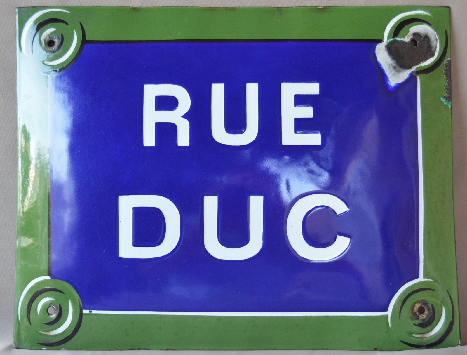 French Antique Blue & Green Enamel Convex Street Road Sign Plaque - Duc Duke Street - French Street Design Rue Duc