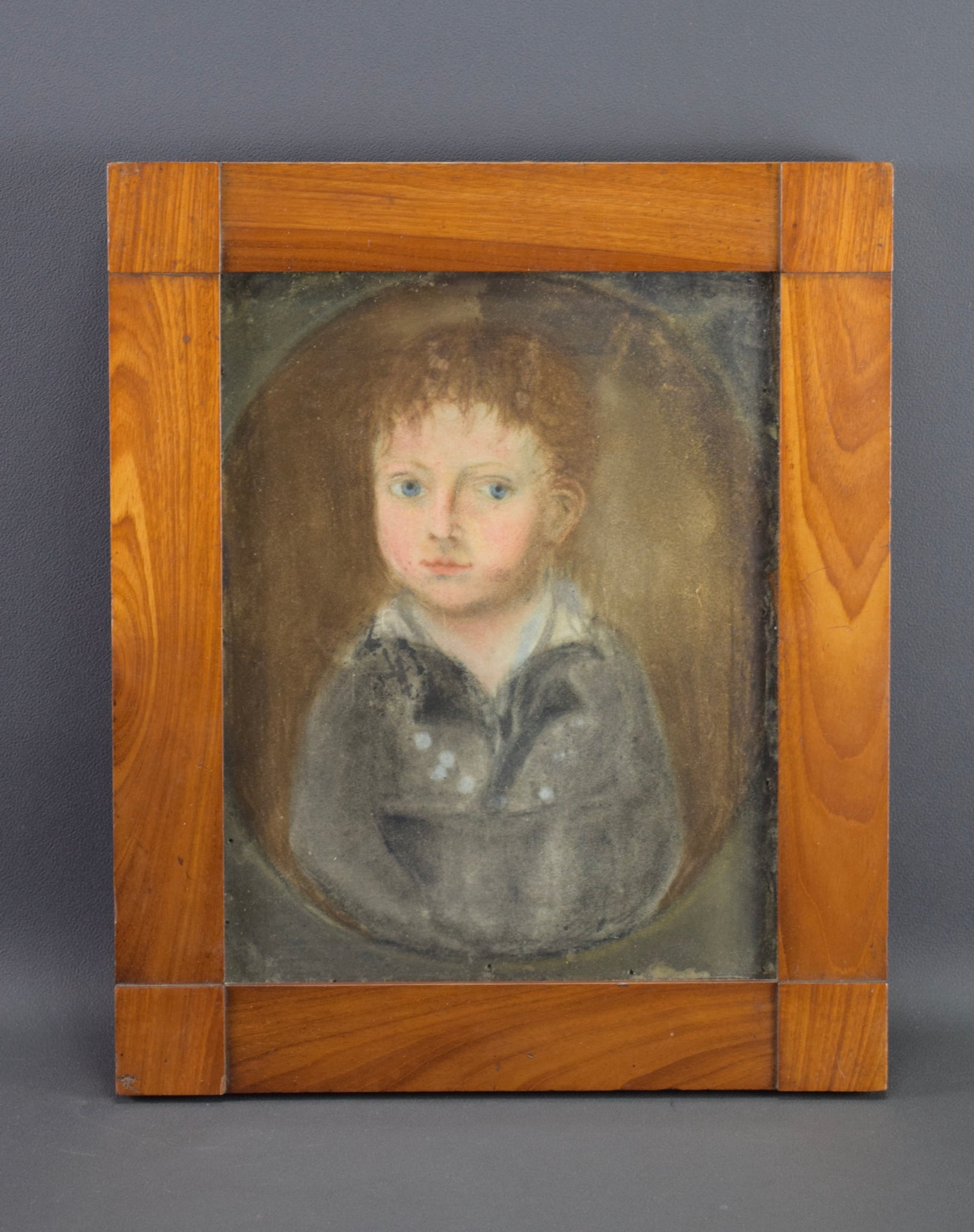 Vintage French Oil Painting Portrait of a Child Empire period