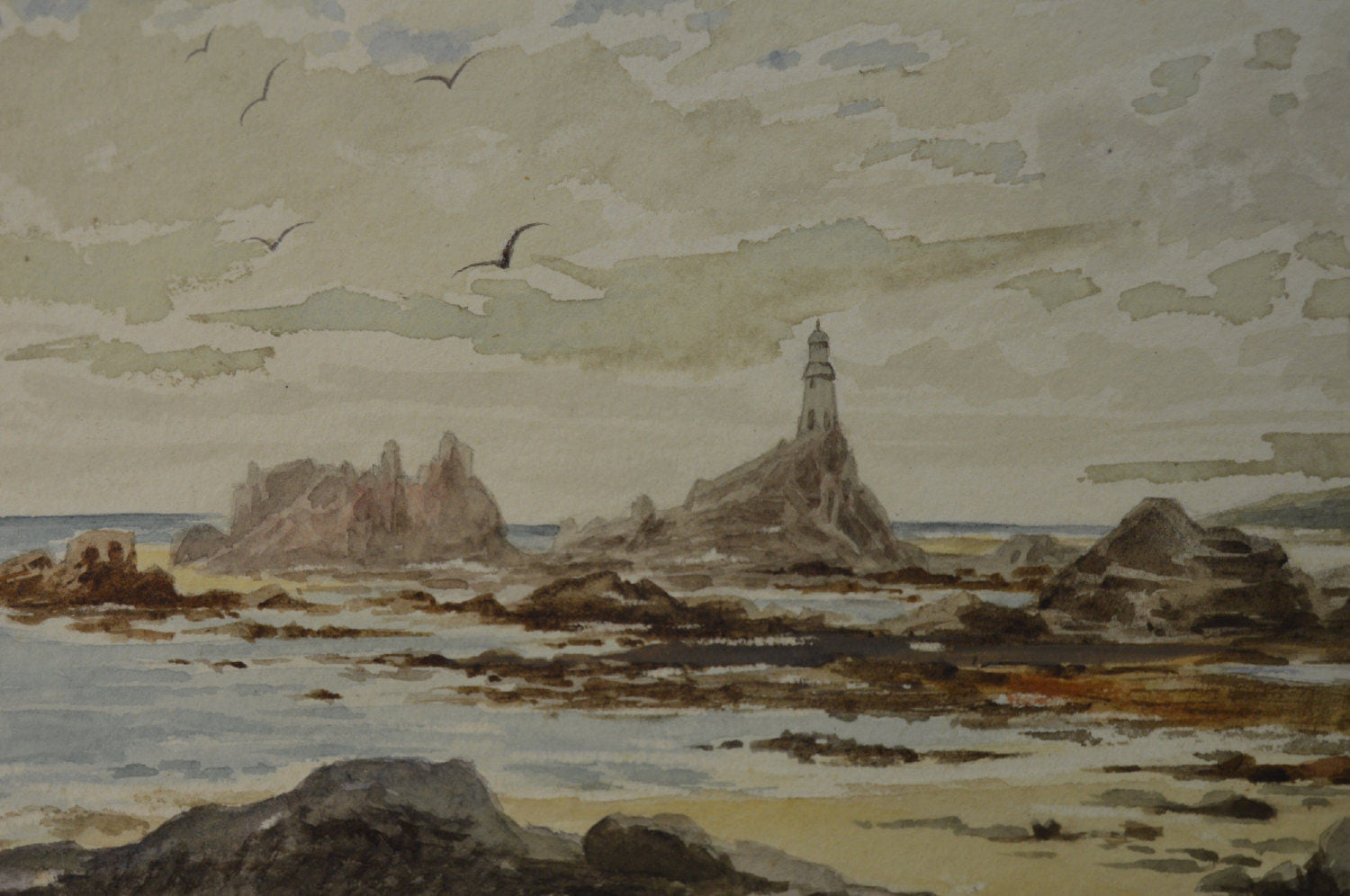 Brittany Lighthouse Watercolor - Charmantiques
