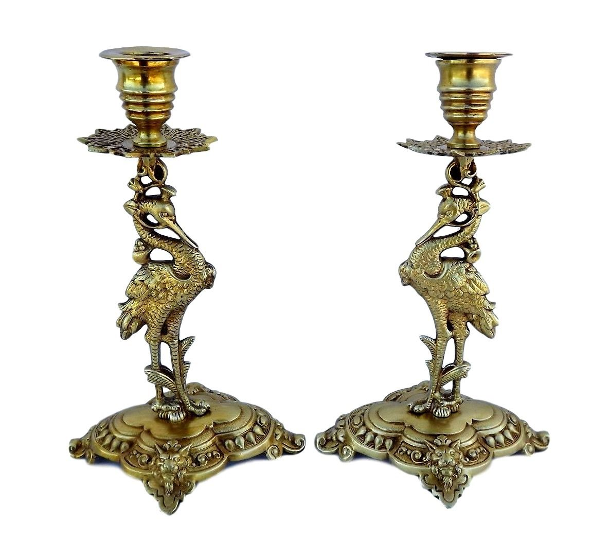 French Antique Pair of Candlestick - Ormolu Bronze Heron Crane Bird and Lion Figure Candle Holder - 19th, Castle Candlesticks