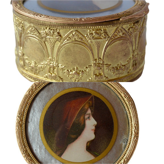French Antique Dore Brass Jewelry Trinket Casket Box - Charmantiques