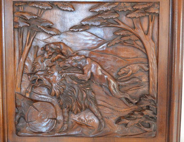 Wild Boar Wooden Panel - Charmantiques