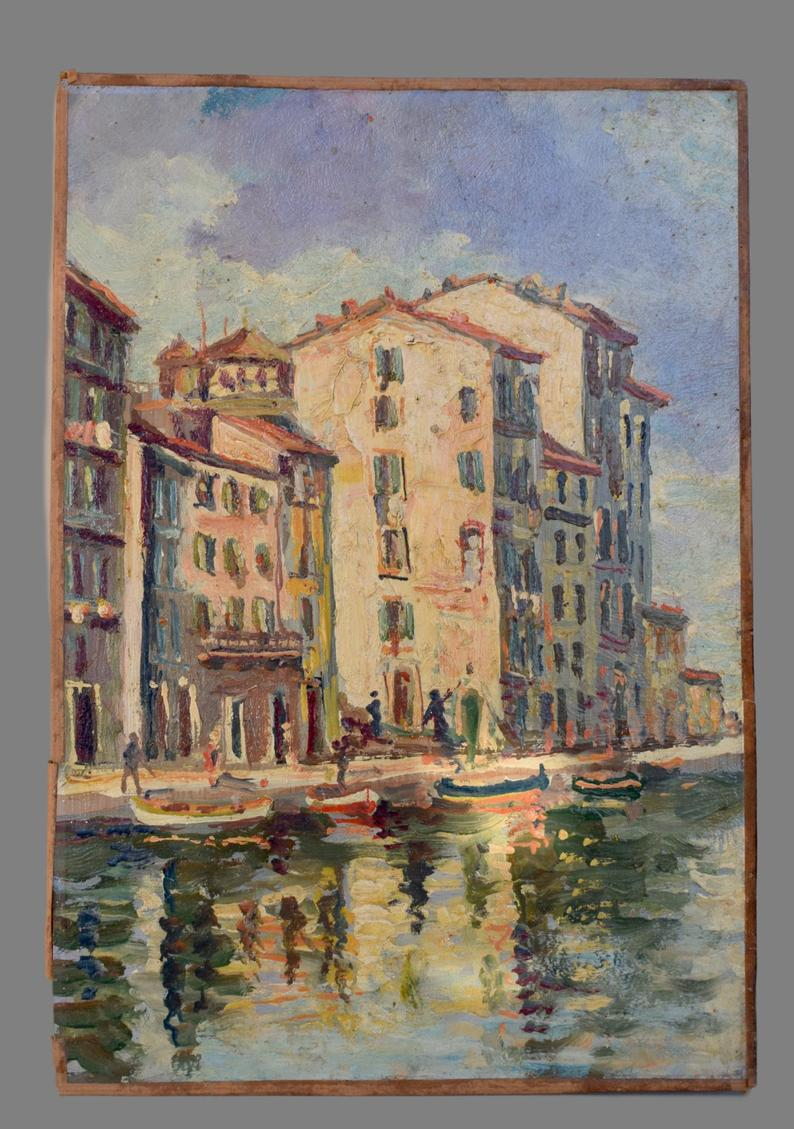 South of France Village Seaside Painting - Charmantiques