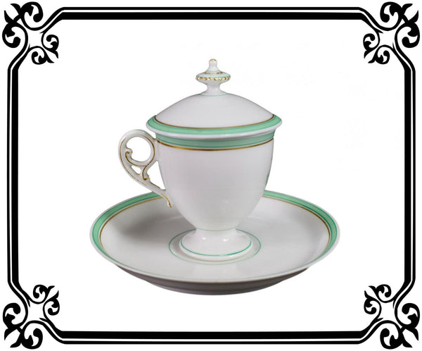 French Porcelain cream pot / cup and saucer of Paris 19th - Saint Honoré Paris N°2