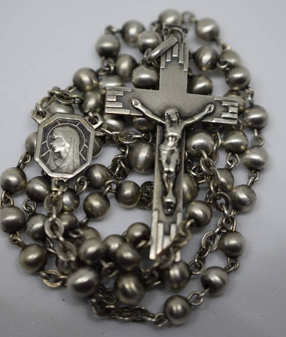 SOLD Art Deco Sterling Silver Beads Rosary - Charmantiques