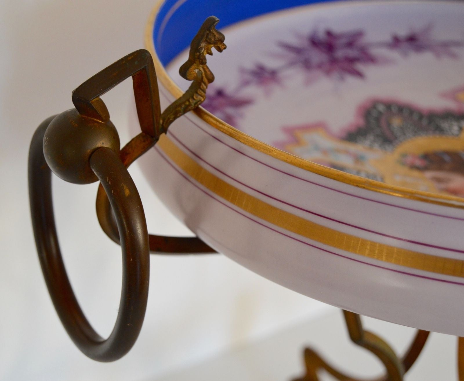 Opaline Bowl & Bronze Stand - Charmantiques