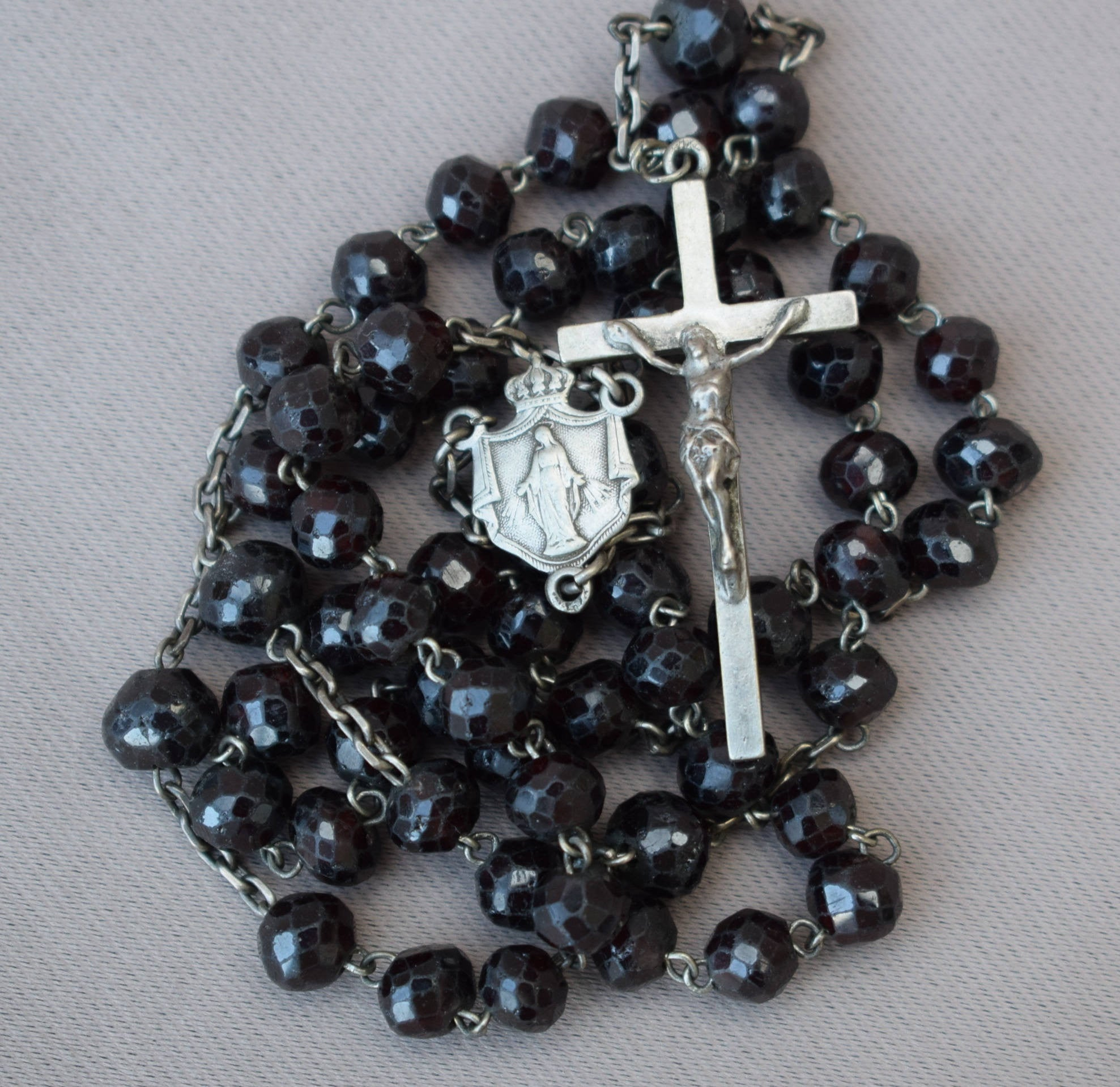 Garnet Beads and Sterling Silver Rosary - Charmantiques