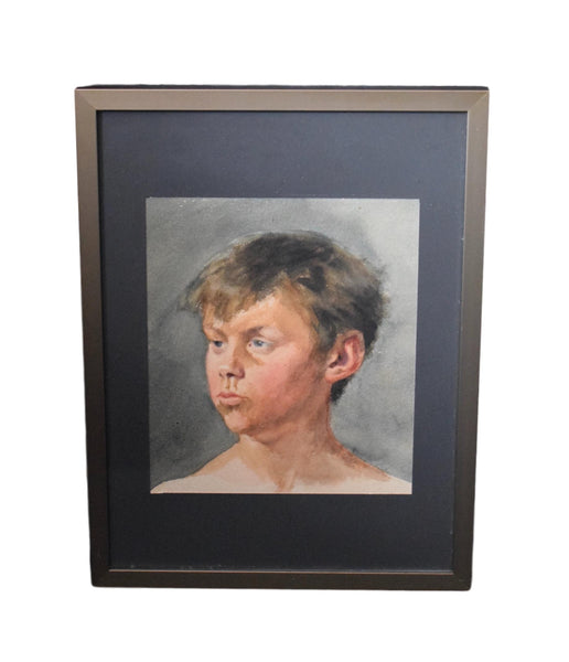 French Antique Watercolor Portrait Young Boy