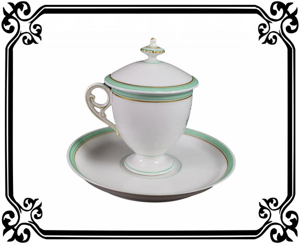 French Porcelain cream pot / cup and saucer of Paris 19th - Saint Honoré Paris N°3