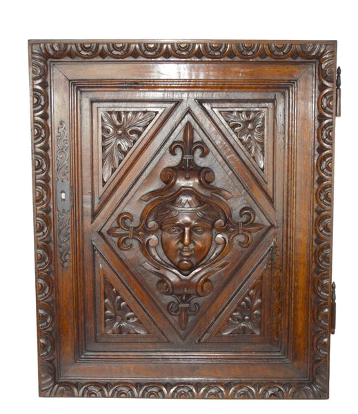 French Antique Gothic Hand Carved Walnut Wood Door Panel - Mascaron Renaissance - Architectural Wood Salvage Door - Closet Door